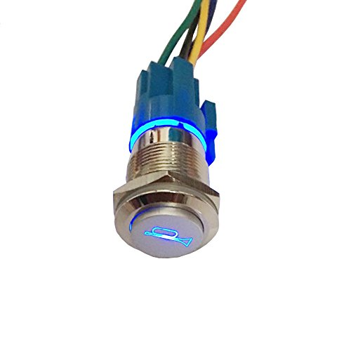 - ESUPPORT 12V Car Auto Blue LED Light Momentary Speaker Horn Push Button Metal Toggle Switch 19mm Socket Plug