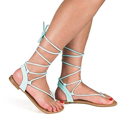 DREAM PAIRS Womens DARRE Tie Up Gladiator Flat Sandals Flat Sandals Mint xKF0pnBlGD