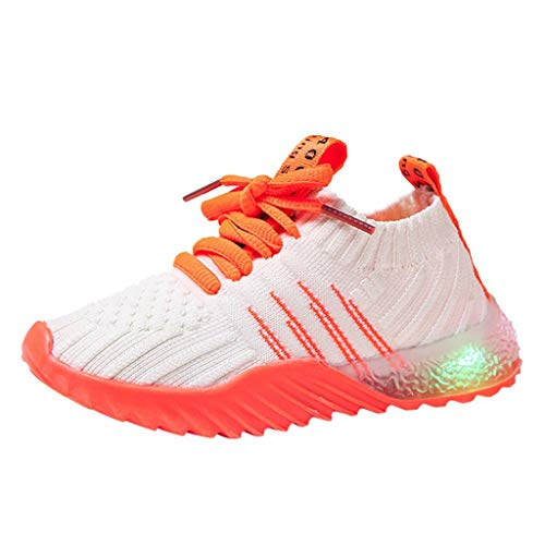 Children Kid Baby Girls Boys Candy Color Led Luminous Sport Run Sneakers Shoes 1-6Y Orange (Communion Invitations For Twins Boy And Girl)