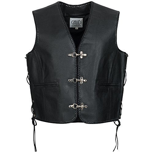 Gaudi-leathers Mens Leather Waistcoat Motorcycle Motorbike Chopper Biker Vest in Black L