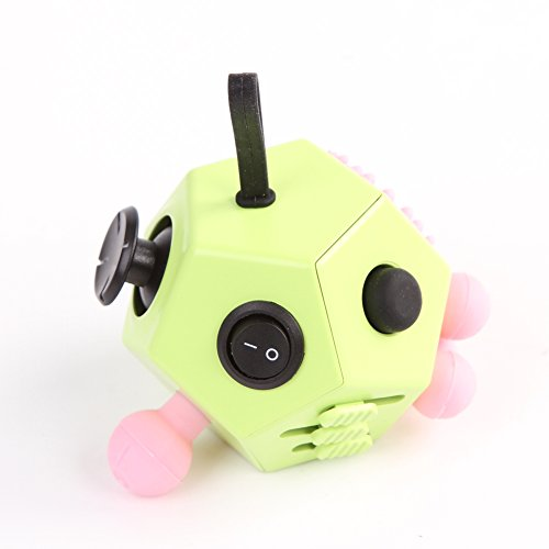 Xinzistar 2 Pcs Fidget Dice II and Dice I Stress Release Anxiety Attention Toys for Children and Adults (Green+09) - 3