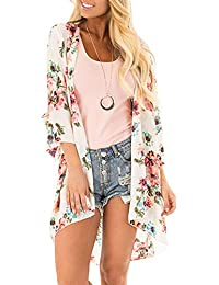 af91ce747e Women's Floral Print Kimonos Loose Half Sleeve Shawl Chiffon Cardigan  Blouses Casual Beach Cover Ups