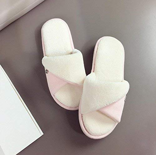 Pink GouuoHi Womens Slippers Ladies Casual Cotton Slippers Home Interior Warm Slippers Yellow Solid color Simple Style Super Soft Plush Comfortable Slippers