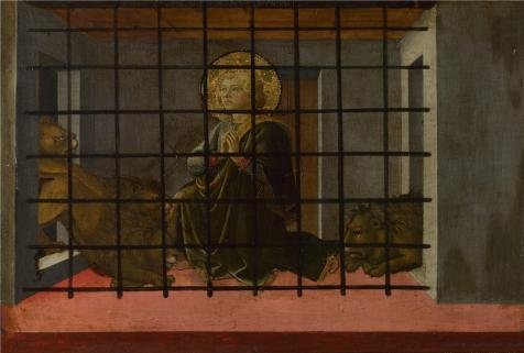 The High Quality Polyster Canvas Of Oil Painting 'Fra Filippo Lippi And Workshop - Saint Mamas In Prison Thrown To The Lions,1455-60' ,size: 30x44 Inch / 76x113 Cm ,this Beautiful Art Decorative Prints On Canvas Is Fit For Kids Room Decor And Home Decoration And Gifts