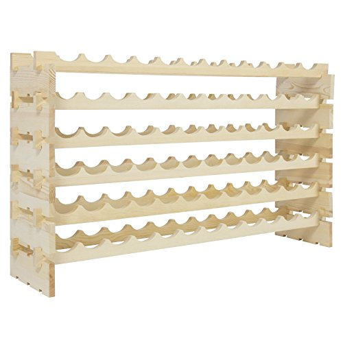 72 Bottles Storage Wine Rack Stackable 6 Tier Solid Wood Display - City Stores Street Park Main