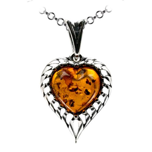 Sterling Silver Amber Heart Pendant Chain 18 Inches - Amber Heart Pendant