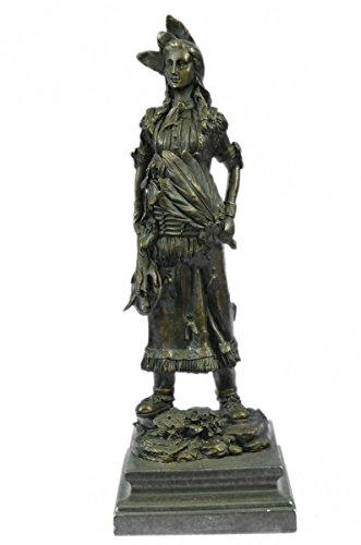 Hip Slung Belt (Handmade European Bronze Sculpture Fierce Native American Indian Woman Original Signed B.Wood LostWax Bronze Statue -JPYRD-1121-Decor Collectible Gi)