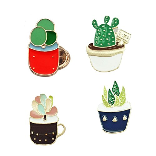 Custom Enamel Succulent Flower Brooch Lapel Pin Set Cute Patches for Clothes/Bags/Backpacks/ (Enamel Pin Succulent)