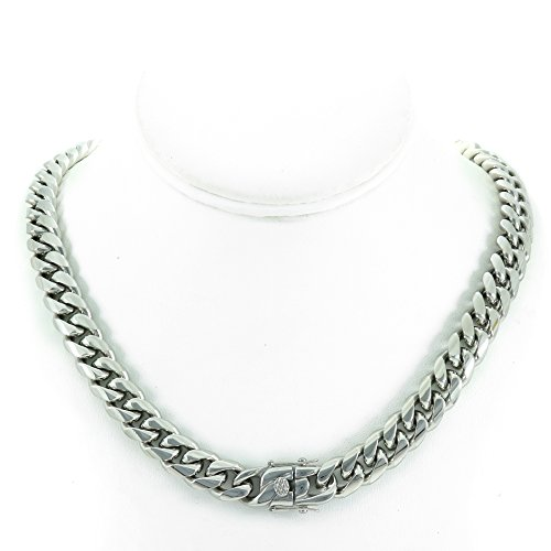 24' Cuban Link Chain (Solid Silver Finish Stainless Steel 12mm Thick Miami Cuban Link Chain Box Clasp Lock (Chain 24''))