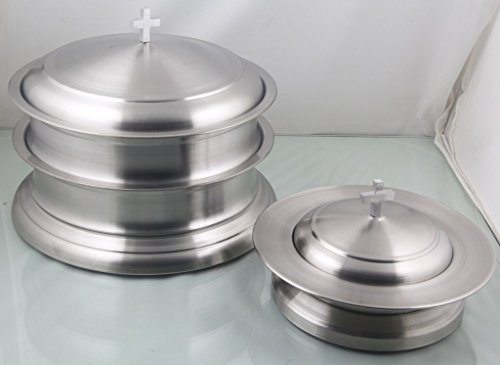 Communion Base - Holy Communion Wine Tray set of 2 with base with Lid & 1 stacking Bread Plate Set - Stainless Steel- Mayur Exports