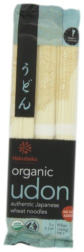 Hakubaku Organic Udon, Authentic Japanese Wheat Noodles, No Added Salt, 9.5oz (Pack of 8)