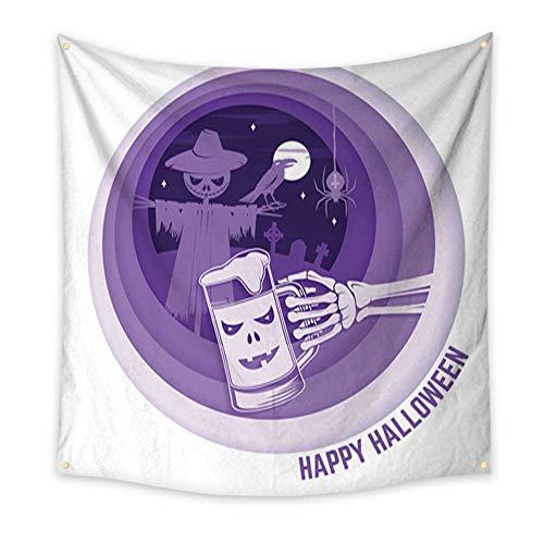 (Anniutwo Tapestry Kids Paper Art Carving Style Design for Halloween Living Room Bedroom Dorm Decor 32W x 32L)