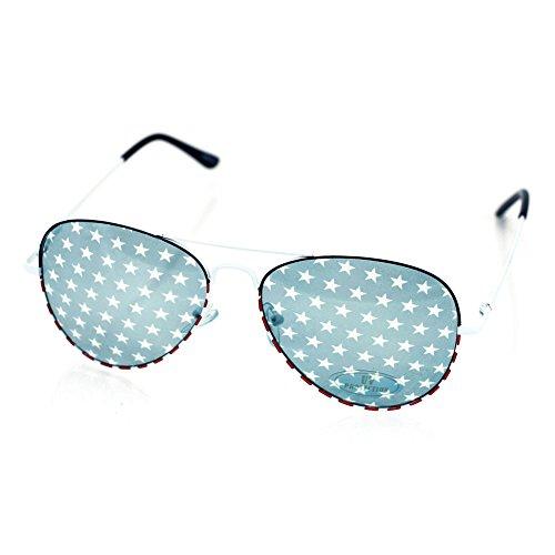 Classic American Flag Patriotic Wayfarer Vintage Aviater Sunglasses (AV1426-White, - Star Sunglasses All