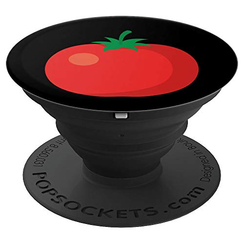 Cute Vegetarian PopSockets Grip Tomato Vegetable on Black - PopSockets Grip and Stand for Phones and -