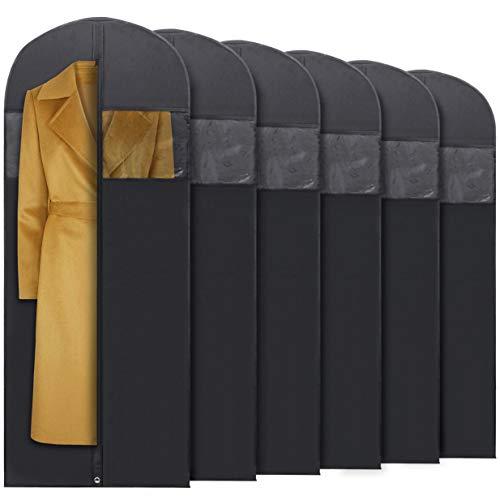 """Plixio 60"""" Black Garment Bags for Breathable Storage of Dresses & Dance Costumes, Suits-Includes Zipper & Transparent Window (6)"""