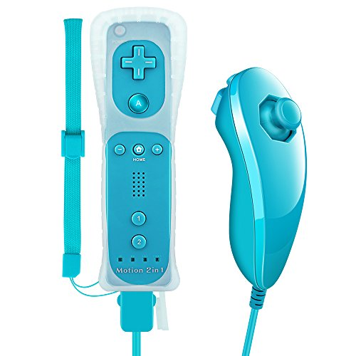 Lavuky WR02 Wii Remote Plus and Nunchuck Controller with Silicone Case and Wrist Strap -Light Blue(3rd-Party ()