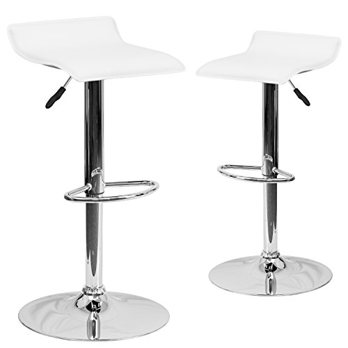 (Flash Furniture 2-Pack Contemporary Vinyl Adjustable Height Bar Stool with Chrome Base, 34-Inch,)