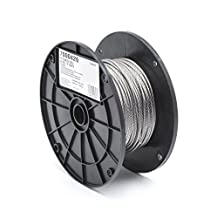 CAMPBELL Stainless Steel 316 Wire Rope on Reel, 7x7 Strand Core, 1/8-Inch Bare OD, 250-Feet Length, 340-Pound Breaking Strength