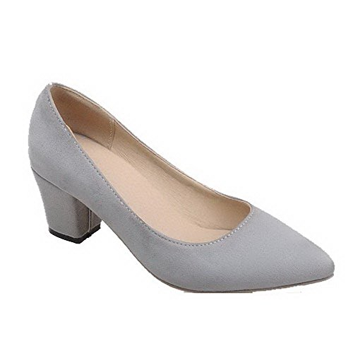 Amoonyfashion Dames Geïmiteerd Suède Kitten-hakken Puntige Teen-pull-on Pumps-schoenen Grijs