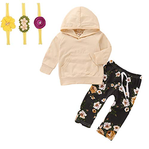 Beautiful Baby Girl Clothes - Baby Girl Clothes Long Sleeve Hoodie Sweatshirt Floral Pants with Headband Outfit Sets (Beige, 0-6 Months)