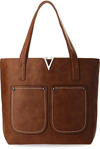 elegante Damentasche Shopperbag mit Nebentaschen braun