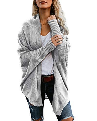 Mafulus Womens Cardigan Sweaters Oversized Open Front Batwing Chunky Knit Outwear ()