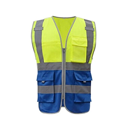Meijunter High Visibility Reflective Safe Vest Multi Pockets Workwear Security Waistcoat Color Yellow w/Blue ()