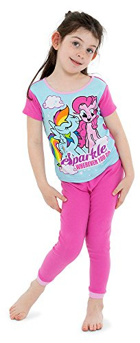 (My Little Pony Little Girls Magical 4-Piece Cotton Pajama Set, Rainbow Splash,)