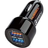 2019 HUSSELL Car Charger - Qualcomm Quick Charge 3.0 - Dual USB 5.4A/30W Fast Car Charger Adapter - QC 3.0 3A + Smart IC 2.4A - Compatible with iPhone - Galaxy S10 S9 S8 S7 S6 Note LG Nexus etc.