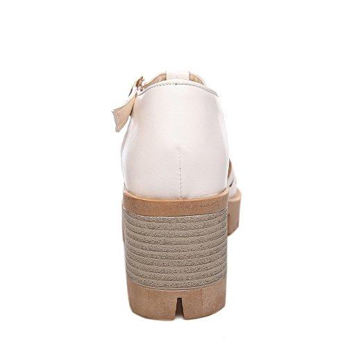 Bout Évider Boucle Chaton Des Pu Blanc Solide Sandales formes Plates Femmes Voguezone009 Talons Avec Ouvert 1CI5YO