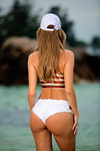 3bef6d01f8 Yollmart Women s Sexy Denim Thong Cheeky Jeans Shorts Beach Hot  Pants-White-M