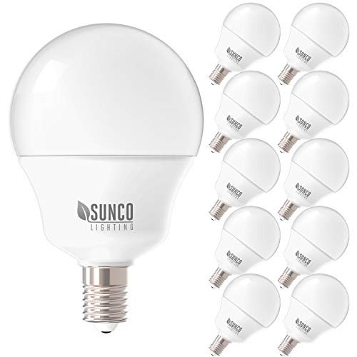 - Sunco Lighting 10 Pack G14 LED Globe, 5W=40W, Candelabra Bulb, 450 LM, 3000K Warm White, Small Edison Screw Base E12, Frosted - UL