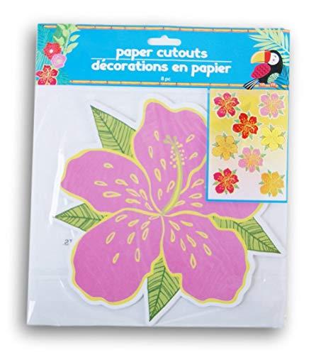 - Greenbrier International Summer Luau Tropical Flowers Bulletin Board Paper Cutouts - 8 Piece