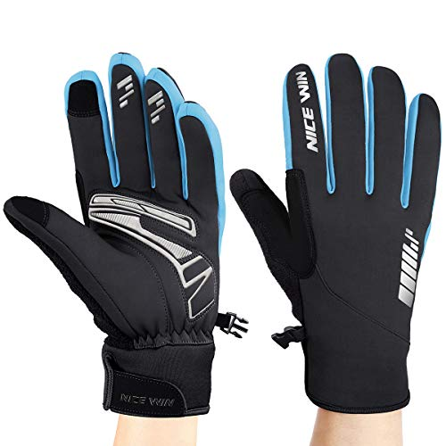 Winter Cycling Gloves Motorcycle Bike - Windproof Waterproof Mountain Road Bicycle Glove Men Women Padded Antiskid Touch Screen Design Blue S
