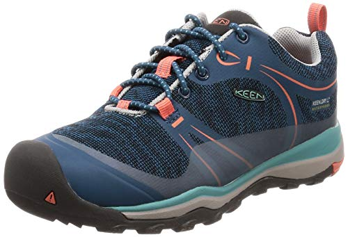 KEEN Unisex Terradora Low WP Hiking Shoe, Aqua SEA/Coral, 5 M US Big (Best Hiking Shoes For Children)