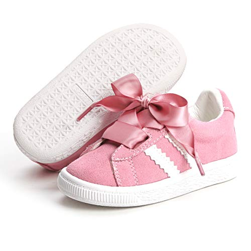 Bear Mall Toddler/Little Kid Girls Running Shoes Sports Sneakers Princess Satin Lace Casual Shoes (12 M US Little Kid, PM01 Pink) ()