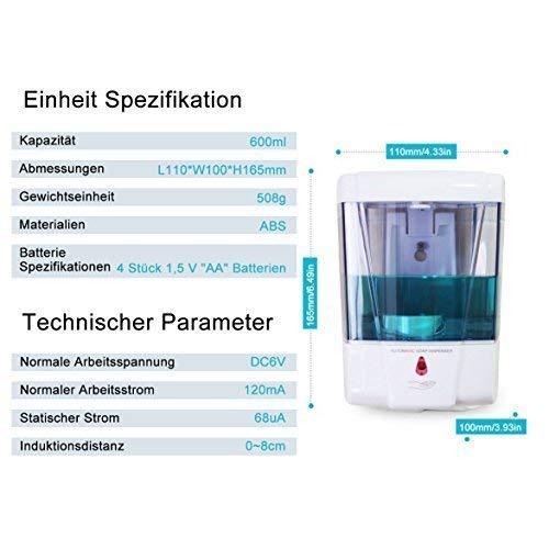 Montaje de Pared 600ML Autom/ático Dispensador de Jab/ón Sin Tocar Dispensador Autom/ático para Ba/ño de Cocina