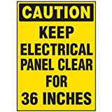 Heavy-Duty Polyester Electrical Safety Labels On A Roll - Caution Keep Electrical Panel - 5''h x 3-1/2''w, Yellow CAUTION KEEP ELECTRICAL PANEL CLEAR FOR 36 INCHES - Quantity: 50