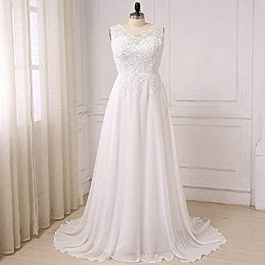 WeddingDazzle Wedding Dress Applique with Beading Long Bridal Dress for Womens