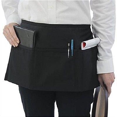 Black Genuine Waitress Waiter Server 3 Pocket Waist Apron Spinne #r2593 (Boston Genuine Belt)