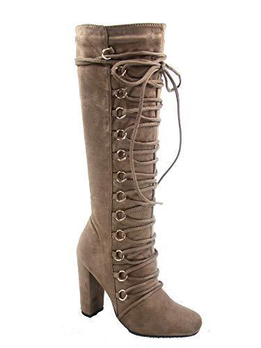 Inch Knee 4 Boot 1/2 (FZ-Carpio-77 Women's Fashion Lace Up Side Zipper Chunky Heel Keen High Boot Shoes (10 B(M) US, Taupe))