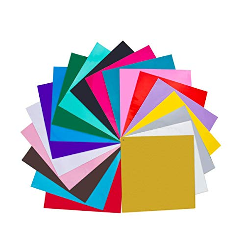 """Permanent Adhesive Self (20 Pack 12"""" X 12"""" Premium Permanent Self Adhesive Vinyl Sheets-Assorted Colors (Glossy,Metallic and Brushed Metallic) for Cricut,Silhouette Cameo,Craft Cutters,Printers,Letters,Decals)"""