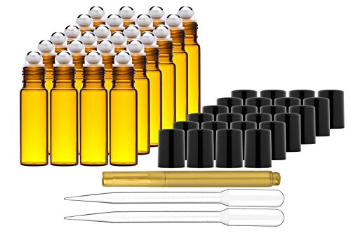 Culinaire 24 Pack Of 10 ml Amber Glass Bottles with Stainless Steel Roller Balls/Caps & (2x) 3 ml Droppers with Gold Glass Pen included ()