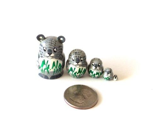 "1.25"" TALL KOALA MINI nesting dolls Russian Hand Carved Hand Painted 5 piece matryoshka Set from BuyRussianGifts"