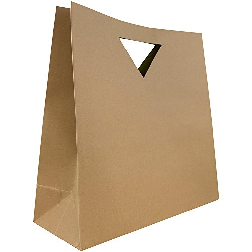 JAM Paper® Heavy Duty Die Cut Bag with Triangular Handle - Large - 15