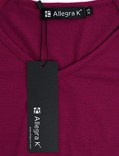 Allegra K de manga larga para mujer diseño de rayas Raglan-Camiseta de manga corta y cuello En V relajado. Morado