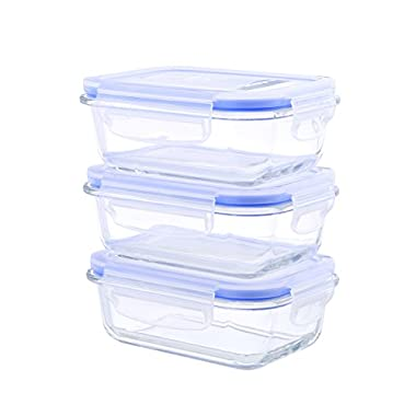 Kinetic 55076 Go Green Glasslock 6-Piece Rectangular Food Storage Container Set, 22-Ounce