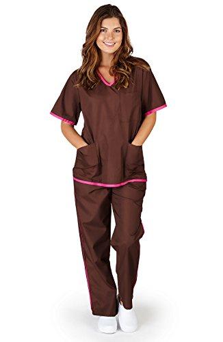 Natural Uniforms Women's Contrast Trim Scrub Set (Chocolate//Hot Pink) (Contrast Trim V-neck Scrub Top)