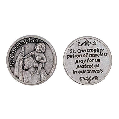Saint Christopher Pocket Coin Token Travel Traveler Protection Protect Catholic Charm Medal Religious Gift Prayer Pray 1 1/8