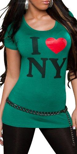 """KouCla Damen T-Shirt Top Longshirt """"New York"""" Rundhals-Auschnitt - Grün, 38/40"""